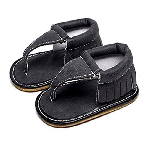 Baby Girls Boys Infant Summer Flip Flops Floral Soft Pu Leather Moccasins Rubber Sole Baby Sandals (6-12 Months, 4) - Leather Rubber Sole Flip Flops