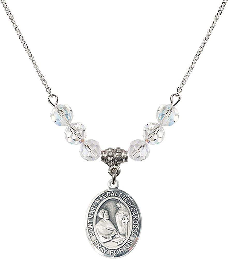 18-Inch Rhodium Plated Necklace with 6mm Crystal Birthstone Beads and Sterling Silver Saint Mary Magdalene of Canossa Charm.
