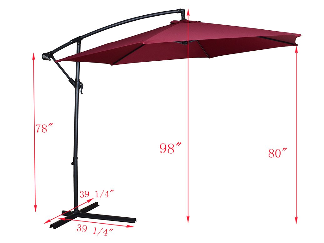 Amazon.com : TMS Patio Umbrella Offset OutDoor 10ft Garden Deck Cantilever  Hanging Canopy Umbrella, Red : Garden U0026 Outdoor