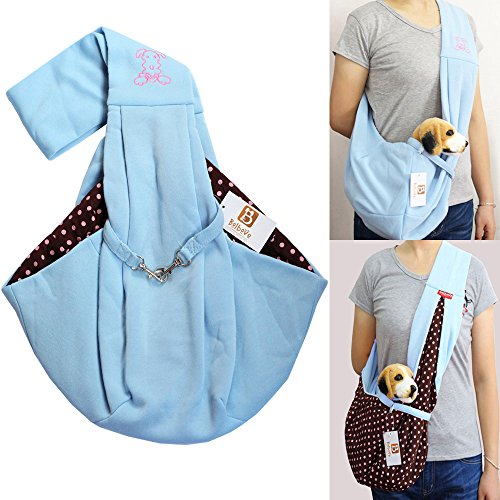 i'Pet Hands-free Reversible Small Dog Cat Sling Carrier Bag Travel Tote Soft Comfortable Puppy Kitty Rabbit Double-sided Pouch Shoulder Carry Tote Handbag (Blue) by Bro'Bear