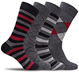 Mens 4 Pack of Light Cotton Blend Fun, Funky and Colorful Business Dress Socks