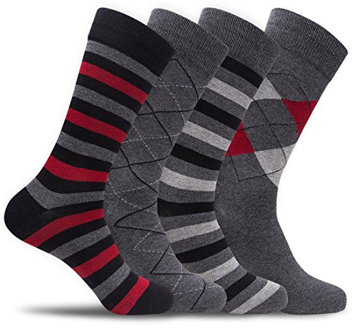 Mens 4 Pack of Cotton Blend Fun, Funky and Colorful Business Dress Socks (Shoe: 8-12 / Sock: 10-13, Black/Grey/Red A) ()