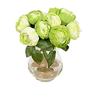Peony Round Rose Artificial Flower Fake 1 Bouquet 6 Heads Silk Flower Leaf Home Wedding Party Decor (Green) 18