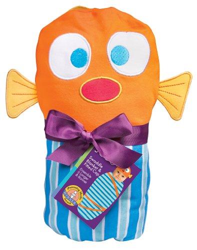 (Sozo Baby-Boys Newborn Fish Swaddle Blanket and Cap Set, Blue/Orange, One Size)