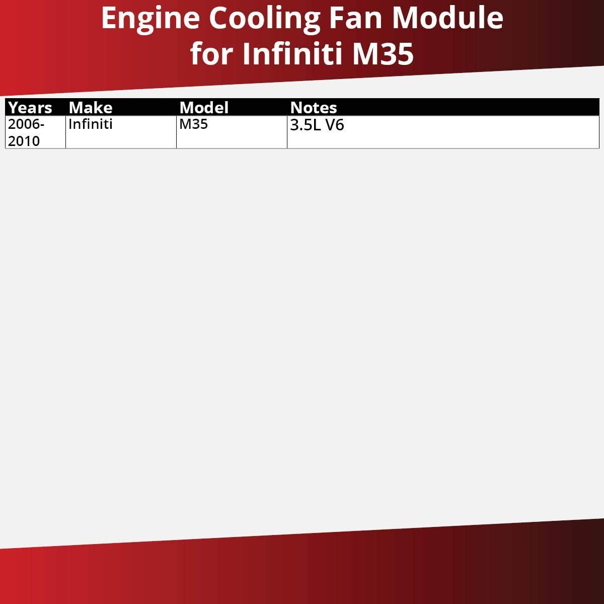 Gates Engine Cooling Fan Module for 2006-2010 Infiniti M35 3.5L V6 Engine Control