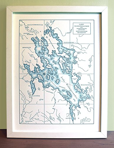 Lake Winnipesaukee New Hampshire Letterpress Map Unframed Print