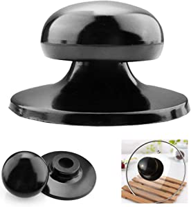 Pot Lid Knobs, 4Pcs Universal Kitchen Cookware Replacement Pan Lid Holding Handles, Knobs Casserole Kettle Cover Glass Saucepan Crockpot Handle Replacemen-Black