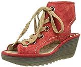 FLY London Women's Yaba702fly Wedge Sandal, Street Red Suede, 39 EU/8-8.5 M US