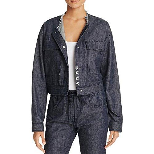 Dkny Puffer Jacket - DKNY Pure Womens Fringe Neckline Snap Closure Jean Jacket Navy S