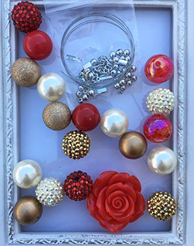 20mm Red, Gold, Ivory DIY Necklace Kit with Hardware Chunky Bubble Gum Acrylic Bead Pack Necklace Kit