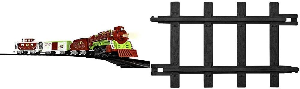 Lionel Home for The Holiday Battery-Powered Train Set with Remote + 12-Piece Straight Track Expansion Pack