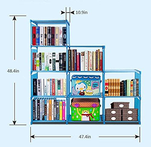 2018 Non-Woven 9-Cubes Korean Home Furniture Closet Storage, Adjustable DIY Design for Kids Office Bookshelf Closet Shelf [US STOCK] (Blue) by CINUE (Image #2)