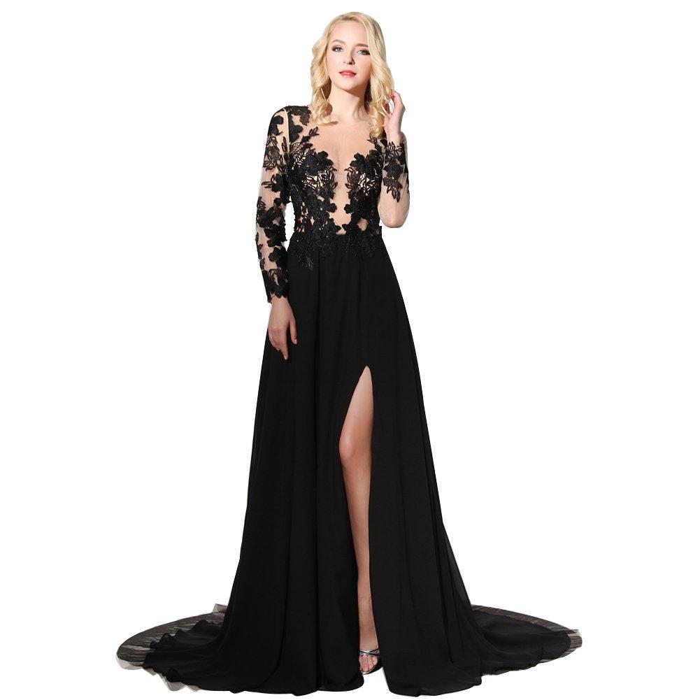 af268f30ce Amazon.com  HONGFUYU Sexy Black Side Split Evening Dresses Sheer Neckline  Long Sleeves Prom Dress Long Leg Slits Appliques  Clothing