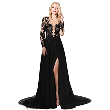 d0ddd12b0fe1 Amazon.com: HONGFUYU Sexy Black Side Split Evening Dresses Sheer Neckline  Long Sleeves Prom Dress Long Leg Slits Appliques: Clothing