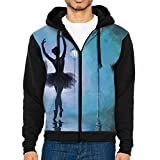 Valentine's Day Ballet Dancer 3d Raglan Hoodie Zip-up Pockets Color-Block Hoodies 90s For Men