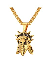 U7 American Rebel Statue Of Liberty Pendant Necklace Women Mens 18K Stamp Gold Plated/Stainless Steel Chain Jewelry USA Symbols