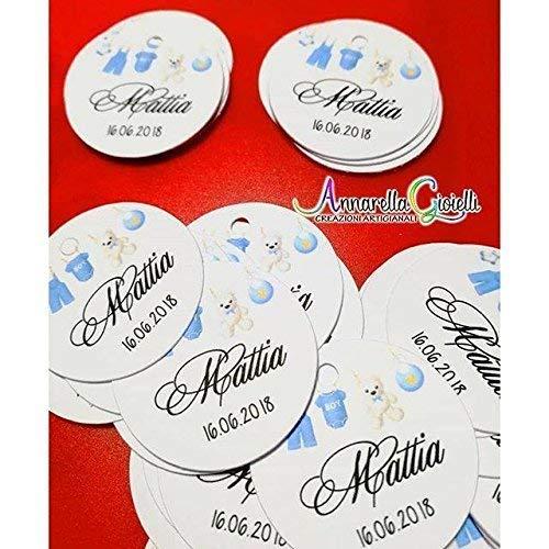 Cartellini per BATTESIMO personalizzati, tag bimbo, ragazzo, bomboniere, azzurro, etichette, battesimo, TONDO BIMBO