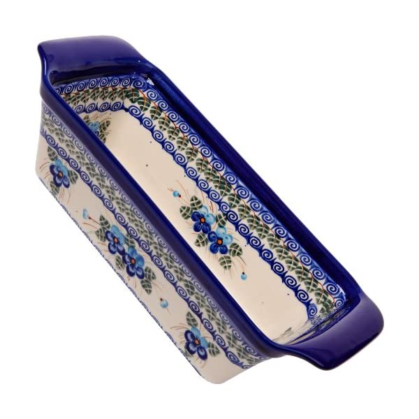 Polish Pottery Ceramika Boleslawiec Bread Meatloaf Baker, 12-3/4-Inch by 5-3/8 Inch, 6 Cups, Royal Blue Patterns with Blue Pansy Flower Motif
