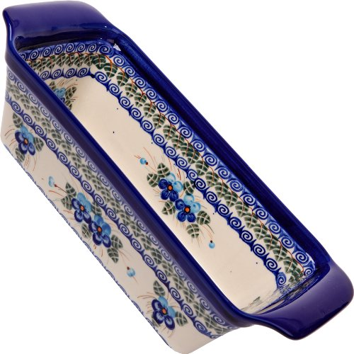 (Polish Pottery Ceramika Boleslawiec Bread Meatloaf Baker, 12-3/4-Inch by 5-3/8 Inch, 6 Cups, Royal Blue Patterns with Blue Pansy Flower Motif)