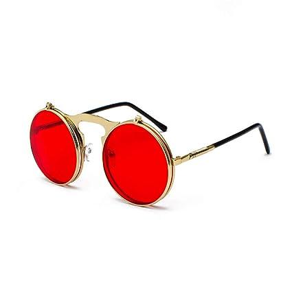 08b4d8d8236 Retro Steam Punk Sunglasses Round Flip Up Metal Frame Glasses Ocean Red Lens  Steampunk Sun Glasses