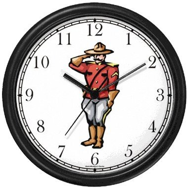 Royal Canadian Mounted Police - Mountie - Canada No.1 Wall Clock by WatchBuddy Timepieces (White (Mounty Police)