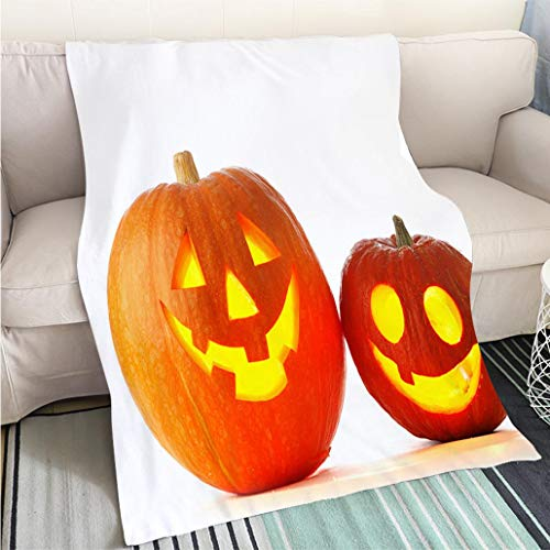 BEICICI Breathable Flannel Warm Weighted Blanket Jack O Lantern Halloween Pumpkins Sofa Bed or Bed 3D Printing Cool Quilt]()