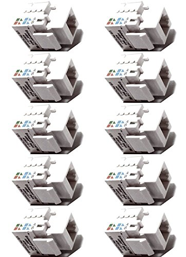 CESS RJ45 CAT5e Ethernet Network Modular Toolless Keystone Snap-in Jacks Punch-Down (10 Pack)