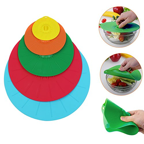 Set of 5 Silicone Lids, Microwave Food Covers, Fridge Fresh Food Covers