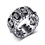 WOWJEW Antique Stainless Steel Cross Ring Accessory Jewelry Vintage Finger Rings Birthday