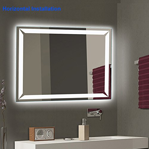 Bathroom Mirror with Lights, Modern LED Mirrors for Wall with Defogger + UL Listed + IP44 Waterproof + 6000K Cool White + CRI>85 + Horizontal or Vertical Installation + Ultra-Thin (27''X 35'') by LtMirror (Image #2)
