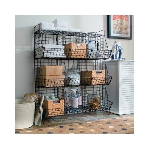 Wire Basket Shelving (Rustic Wire Basket Shelving Unit 9 Storage Cubbies)