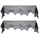 decorating fireplace mantels Scafiv 2 Pack Black Lace Spiderweb Cobweb Mantel Fireplace Scarf Cover Decoration Door Window Party Supplie, 18 x 96 Inch