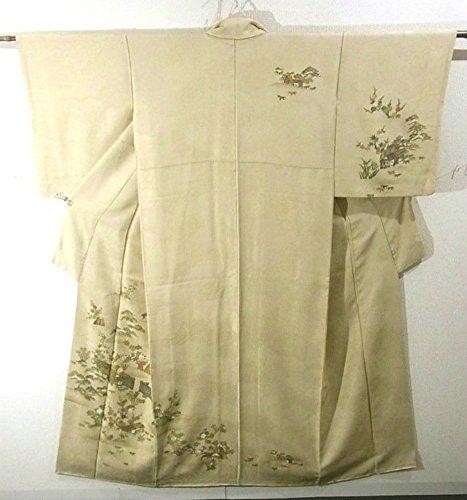 促進する不快な作家リサイクル 着物 訪問着 四季花に家屋 正絹 袷 裄63cm 身丈158cm