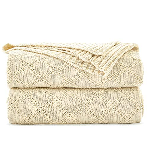 - Longhui bedding Cream Cotton Cable Knit Throw Blanket for Couch Chairs Beach Sofa, Home Decorative Blanket, 50 x 60 inch Gift a Washing Bag