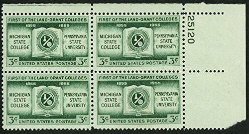 1955 3c US Postage Stamps Scott 1065 Michigan Pennsylvania State College Block - 1065 Us