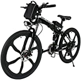 "ANCHEER Folding Electric Mountain Bike with 26"" Super Lightweight Magnesium Alloy 6 Spokes Integrated Wheel, Lithium-Ion Battery (36V 250W), Premium Full Suspension and Shimano 21 Speed Gear"