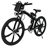 ANCHEER Folding Electric Mountain Bike with 26' Super Lightweight Magnesium Alloy 6 Spokes Integrated Wheel, Large Capacity Lithium-Ion Battery (36V 250W), and Shimano Gear (Black Frame)