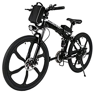 "ANCHEER Folding Electric Mountain Bike with 26"" Super Lightweight Magnesium Alloy 6 Spokes Integrated Wheel, Large Capacity Lithium Ion Battery (36V 250W), and Shimano Gear"