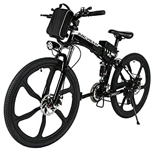 "ANCHEER Folding Electric Mountain Bike with 26"" Super Lightweight Magnesium Alloy 6 Spokes Integrated Wheel, Large Capacity Lithium-Ion Battery (36V 250W), Premium Full Suspension and Shimano Gear"
