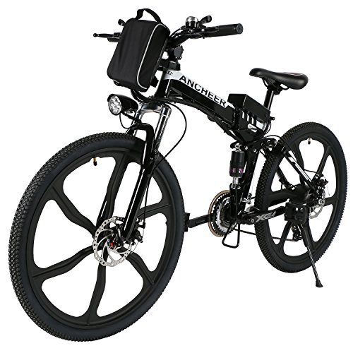 Speedrid 26 Electric Bike, Aluminum Alloy Folding Electric Mountain Bike Ebike, Full Suspension and 21 Speed Shifter (Adventurer-Black)