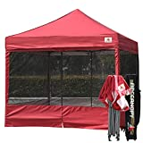 ABCCANOPY 10×10 Ez Pop up Canopy Party Tent with Netting Commercial Instant Gazebo with Screen Walls (Burgundy)