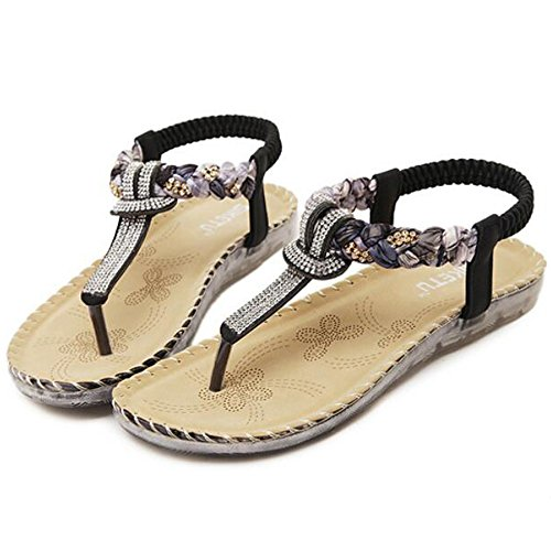 Women's Strap Clip Bohemian Hattie Sandals Summer Black Flats Toe Ankle Twd1xt