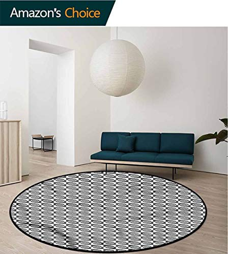 3' Round Bullseye - RUGSMAT Geometric Warm Soft Cotton Luxury Plush Baby Rugs,Squares Circles Bullseye Circle Rugs for Living Room Round-55
