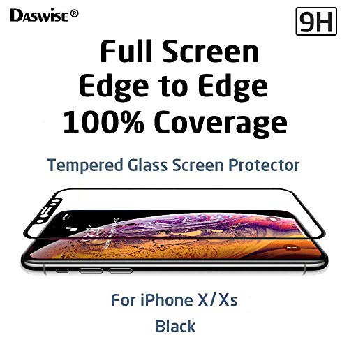 Daswise Screen Protector, for iPhone X iPhone Xs, 100% Coverage Tempered Glass Screen Protector, Cover Edge-to-Edge, HD Clear, Bubble-Free, Shockproof, Case Friendly, Easy Installation (Black 5.8)