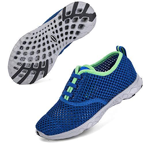 ALEADER Kids Sneakers Boys Beach Water Shoes for Swim Pool Camp Walking Royal Blue/Gray/Green 5 M US Big Kid