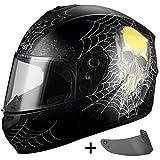 Triangle Full Face Matte Street Bike Motorcycle Helmet [DOT] (Medium, Matte Black)