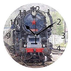 XiangHeFu Wall Clock,Round 10 Inch Diameter Silent Vintage Steam Train Decorative for Home Office School