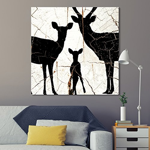 Square Deer Family Wood Effect