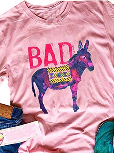 (Bad Ass Donkey Graphic Cut T Shirt Women't Letter Print Casual Tees Short Sleeve Summer Tops (X-Large,)