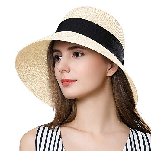 Packable Floppy Straw Cloche Sun Hat Derby Bow SPF 50 for Big Head Women Travel Beige 58-59cm